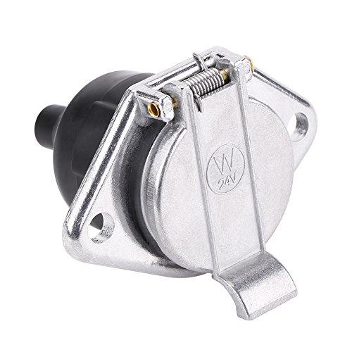 Akozon Enchufe Adaptador de Conector de cableado de 7 Pines Ajuste Universal para vehículos comerciales de 24 V Enchufe de Remolque de 7 Polos Cubierta metálica Puerto de Goma