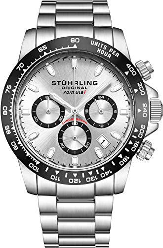 """Stuhrling Original Mens Sport Chronograph Watch - Stainless Steel Brushed Matte Bracelet, 891 Formula""""i"""" Watches Collection (Silver)"""