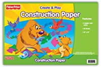 Fisher Price Giant Construction Paper Pad, 46cm x 30cm , 8 Assorted Colours, 40 Sheets (416)