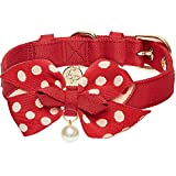 Blueberry Pet 2020 New 4 Colors The Most Coveted Red Adjustable Dog Collar with Golden Metal Buckle and Detachable Dotty Bowtie & Pearl, Neck 17-20.5', for Large Breed