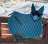 Equipride GP - Espátula para silla de montar con velo a juego, color azul