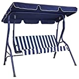 Charles Bentley 2-3 Seater Garden Patio Swing Seat Hammock Chair Made of Powder Coated Steel in Blue Striped