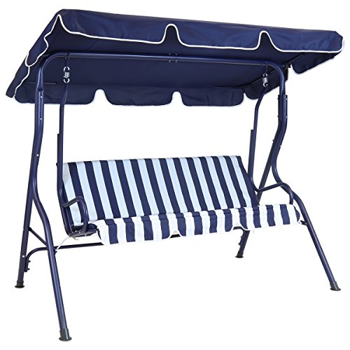 Charles Bentley 2-3 Seater Garden Patio Swing Seat Hammock Chair - Blue Striped