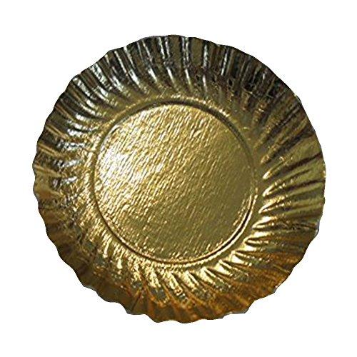 Lot de 50 plateaux en carton doré de 12 cm. Idéal pour gâteaux, pâtisseries, monoportions, pour aliments.