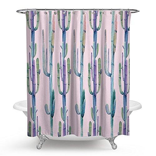 "kisy Cactus impermeable baño cortina de ducha tamaño estándar cortina de ducha Tropical verde plantas 70""x 70,"" Rosa verde"