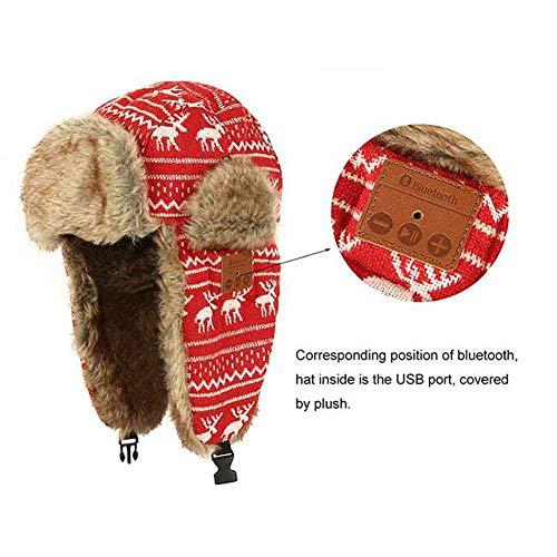 RED-EYE 5.0 Bluetooth Warm Lei Feng Cap Cotton Winter Warm Snow Hat Bluetooth Warm Hat Wantdo Men's Faux Fur Trapper Hat Waterproof Warm Winter Trooper Snow Hunting Hat with Ear Flap