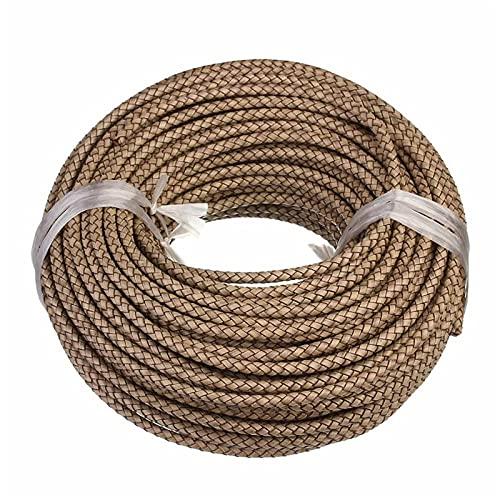 Cuerda de joyería 1m / Lote 6 mm Cuerda de Cuero Trenzado Cuerda de Cuerda Collares Collares Pulseras Hallazgos Hilo de Cuero Bricolaje Producir joyería Hermosa y Duradera (Color : Beige)