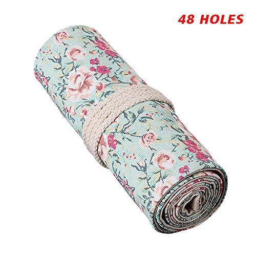 Estuche enrollable de lona con estampado de flores 36/48/72 ranuras, estuche organizador para lápices de colores 48 holes