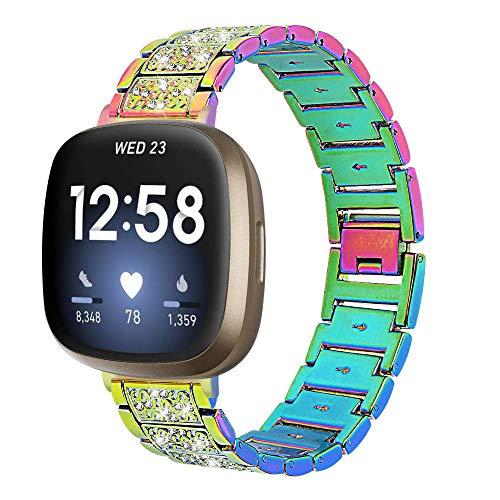 Tencloud Correas compatibles con Fitbit Versa 3, correa de repuesto de acero inoxidable con cristales de diamantes de imitación para Fitbit Sense/Versa3 Smartwatch (colorido)