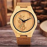LCDIEB Arrivo Cool Bamboo Orologio da Polso da Uomo Elk Moose Deer Head Handmade Nature Wood Women Watch Leather Bangle Sport Wooden Clock