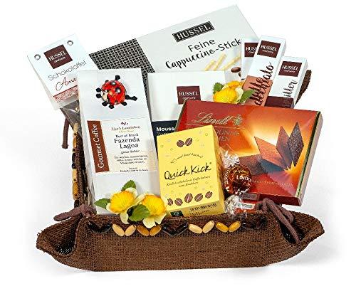 Geschenkkorb Präsentkorb Glückskorb Schokolade Macht glücklich Schokoladenpräsentkorb Hussel Lindt Peters