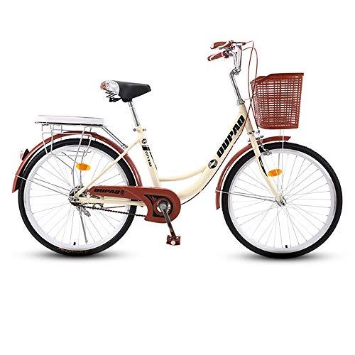 Urban Commuter Retro Bicicleta, una sola velocidad Beach Cruiser bicicleta para adultos, marco de acero de alto carbono, cesta delantera, soportes traseros