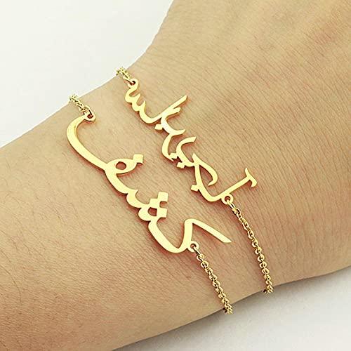SONGK Pulseras de Acero Inoxidable de Color Dorado con Encanto Personalizado con Nombre árabe para Mujeres y Hombres, Pulsera clásica, joyería