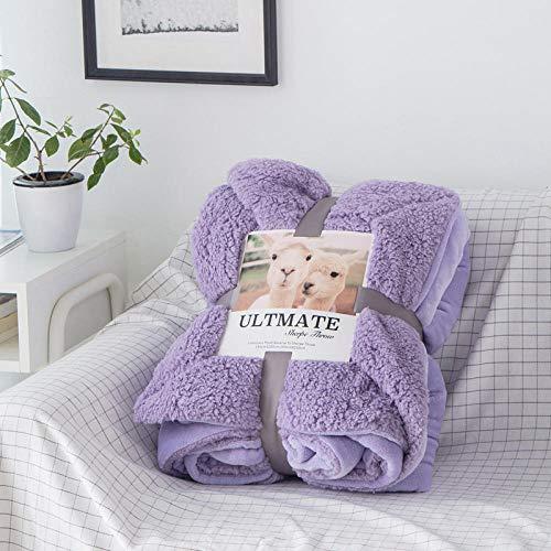 Eastbride Manta de sofá y Cama,Manta de sábana cálida de Color sólido de Lana de Cordero-Lila_200 * 230,Caliente Transpirable para Hogar Manta