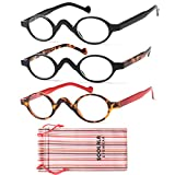 SOOLALA 3 Pairs Cute Small Round Plastic Spring Heeled Magnifying Reading Glasses, 2.0D