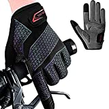 Guantes Ciclismo, Guantes Bicicleta,Guantes MTB Degradado Reflexivo Medio-Dedo Acolchado Antideslizante Transpirable para Hombres Mujeres (Dedo Completo, M)