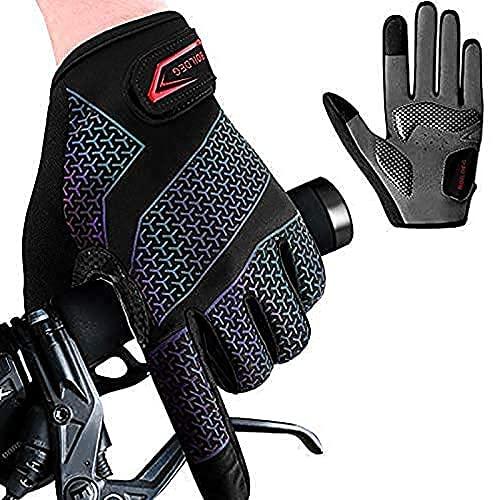 Fahrradhandschuhe Radsporthandschuhe Gradient rutschfeste und Stoßdämpfende Mountainbike Handschuhe mit Signalfarbe geeiget Unisex Herren Damen (Voller Finger, L)