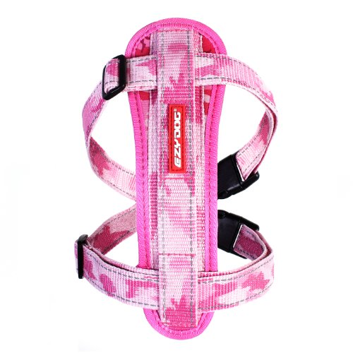 EzyDog Premium Chest Plate Custom Fit Reflective No-Pull Padded Comfort Dog Harness - Perfect for Training, Walking, and Control - Includes Car Restraint Attachment (Medium, Pink Camo)