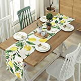 Bateruni Früchte Zitronen Tischläufer, Blumen Rechteckige Tischwäsche Matte, Hitzebeständig rutschfest Tischset für Esszimmer Party Urlaub 35 * 180cm - 3