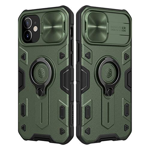 NILLKIN Funda Compatible con iPhone 12 Mini, Funda con Funda Deslizante para Cámara, PC y Funda Protectora TPU Resistente a Golpes con Soporte para Anillo Compatible con iPhone 12 Mini 5.4'- Verde