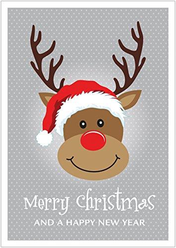 fioniony Merry Christmas and a Happy New Year Coole lustige Weihnachtskarte Klappgrußkarte oder Weihnachtsgutschein mit Hirsch zu Weihnachten mit Rudolf, Mütze und Sterne in Grau (Mit Umschlag) (1)