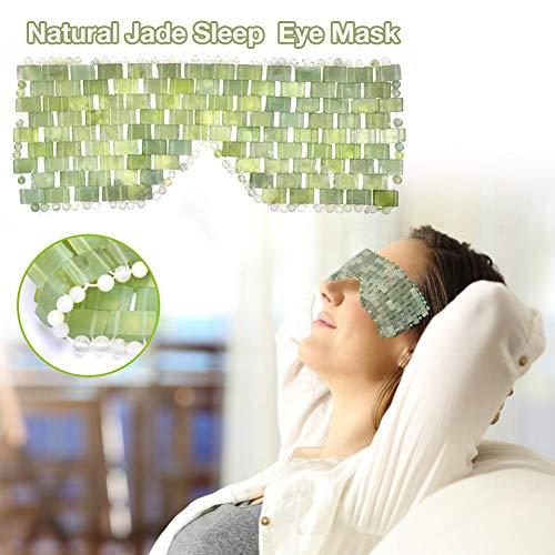 Máscara antienvejecimiento para la terapia de frío o calor que es calmante, refrescante, desintoxicante, máscara de jade natural para los ojos y venda, máscara de ojos de jade natural