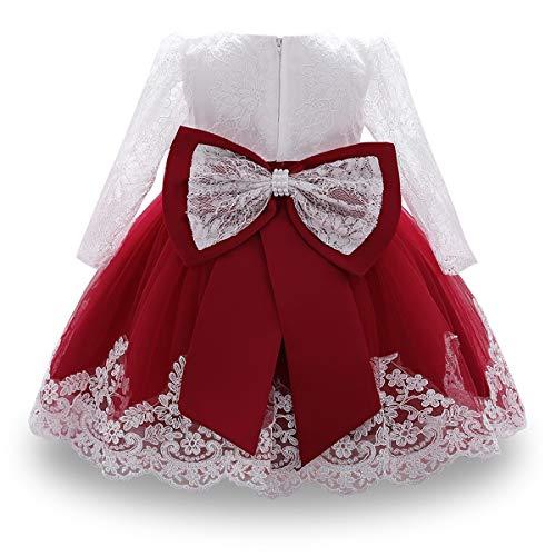 WOCINL Vestidos de encaje de manga larga para bebés y niñas, con...