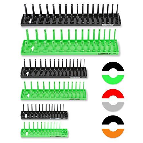 OEMTOOLS 22233 6 Piece Socket Tray Organizer Set, Green and Black, Socket Rails, Holds 80 SAE & 90 Metric Sockets, 1/4', 3/8', & 1/2' Drive