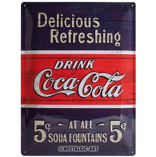 Nostalgic-Art 23193 Plaque rétro en tôle Motif Coca-Cola avec Inscription Delicious Refreshing Bleu 30 x 40 cm