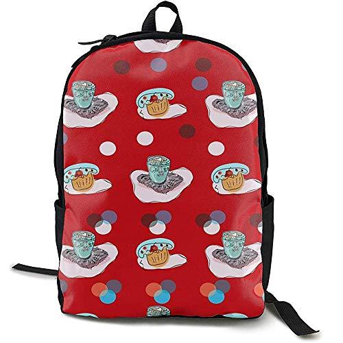 Skizze Kaffeetassen und Süßigkeiten Essen Bookbag Casual Reisetasche für Teen Boys Girls