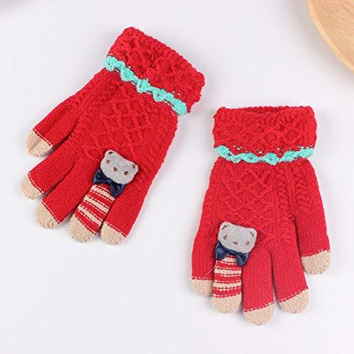 ZXCVWY Winter Kids Handschoenen Warm Gebreide Handschoenen Volledige Vinger Dikke Wanten met Beer Cartoon 5-10-Jaar Oude Kinderen Handschoenen