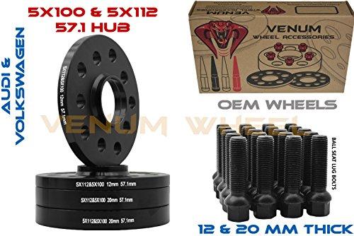 Venum wheel accessories 10 Pc 33 mm Ball Seat Lug Bolts M14x1.5 Extended Shank Length Radius Works with Volkswagen Audi Mercedes Benz Porsche Vehicle W//Factory Wheels