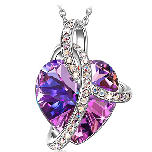 SIVERY Christmas Necklaces for Women 'Love Heart' Necklace Pendant with Swarovski Crystals, Jewelry for Women, Gifts for Mom, Purple