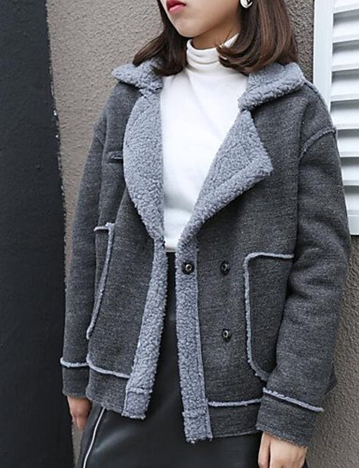 YYYURONG TT&SHANGYI Women's Regular Padded Coat,Simple Casual Daily Solid-Wool Others Wool Long Sleeve