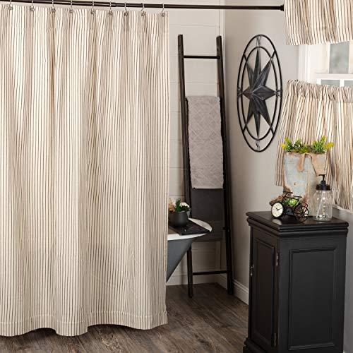 "Katie's Vintage Stripe Shower Curtain, 72"" Wide x 72"" Long, Urban Rustic Farmhouse Boho Style Bathroom Curtain, Natural Cream w/ Black Stripes"