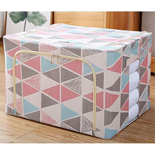 N / C Caja de almacenamiento plegable para el hogar, dormitorio, tela de lino y algodón, ventana transparente, 39 x 29 x 20 cm