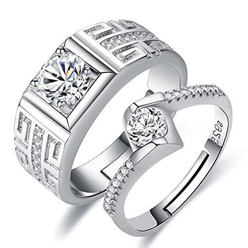 LINYIN 2pcs Couple Ring Female Diamond Ring Simulation Zircon Wedding Ring Silver-Plated Domineering Men's Ring