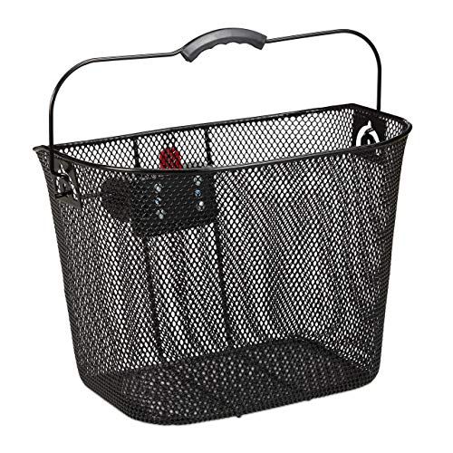 Relaxdays, schwarz Fahrradkorb für Vorne, abnehmbar, mit Klicksystem, Lenkerkorb Metall, engmaschig, HBT 27x34,5x26cm