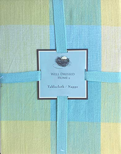 Well Dressed Home Fabric Tablecloth Pastel Spring Easter Tablecloth Blue Green Yellow Large Squares Plaid Pattern - 60 Inches by 118 Inches