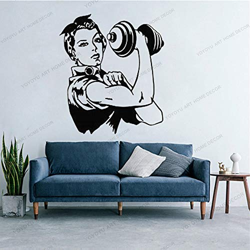 Sport Fotobehang Sticker Retro Woman Girl Lifting Weights Kettle Bell Removable Stylish Mural Design For Home Decoratio