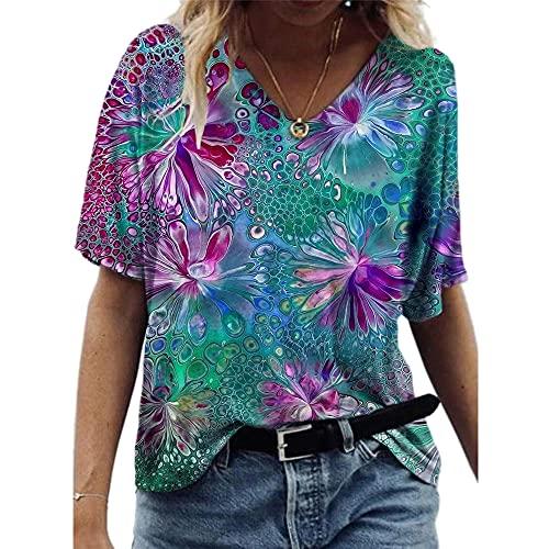 Janepam Women T-Shirt Tops 3D Geometric Flower Floral Grass Graphic Pattern Print Short Sleeve V-Neck Plus Size Loose Tee Blouse(S Green,M)