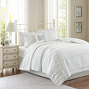 Madison Park Celeste King/Cal King Size Quilt Bedding Set - White, Ruffle Stripes – 4 Piece Bedding Quilt Coverlets – Ultra Soft Microfiber Bed Quilts Quilted Coverlet