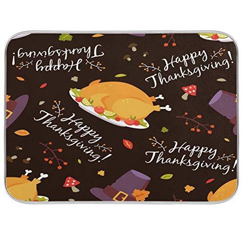 BGIFT Alfombra de secado de platos reversible absorbente de microfibra para platos de Acción de Gracias con patrón de pavo de Acción de Gracias para colgar en la cocina, mostrador, mesa de café, este