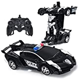 Jeestam RC Car Robot for Kids Transformation Car Toy, Remote Control Deformation Vehicle Model with One Button Transform 360°Rotating Drifting 1:18 Scale, Best Gift for Boys and Girls (Black)