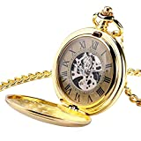 Orologi da Tasca Golden Automatic Mechanical Pocket Watch Shield Pendant Men Donne Regalo di Natale