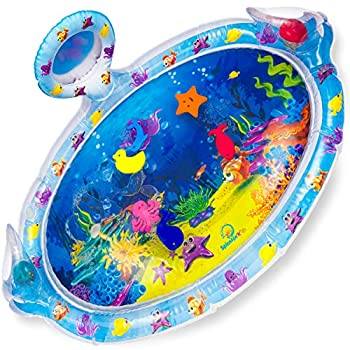 Splashin kids Inflatable Tummy Time Premium Water mat with Mirror and rattles Infants Toddlers The Perfect Fun time Play Activity Center Your Baby s Stimulation Growth