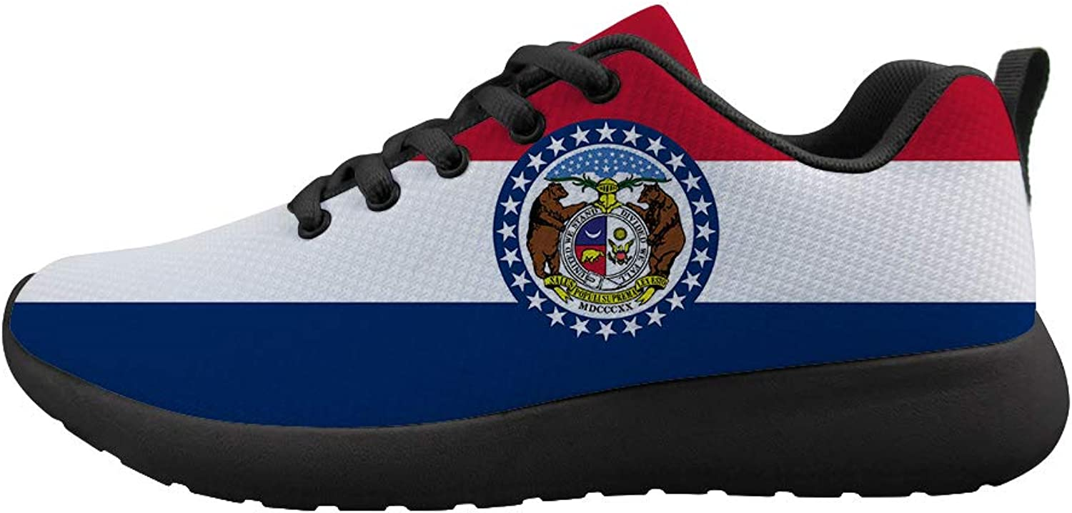 Owaheson Cushioning Sneaker Trail Running shoes Mens Womens The Show Me State Missouri Flag