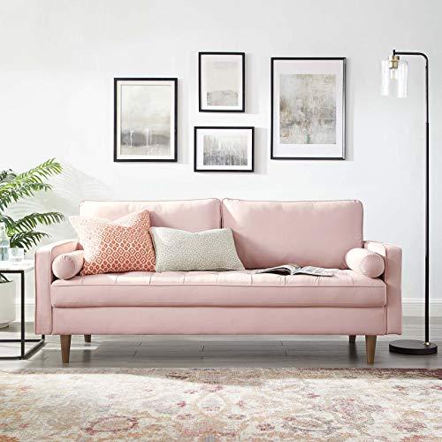 Modway Valour Performance Velvet Upholstered Tufted Sofa, Pink