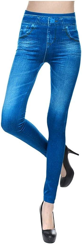 F_Gotal Women's High Waisted Skinny False Pocket Seamless Denim Pants Stretch Pencil Jeans Casual Jeggings Sweatpants