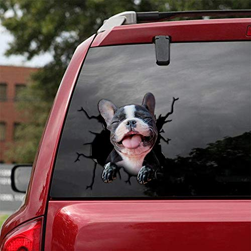 Ocean Gift Frenchie Car Decals, Dog Car Stickers Pack of 2 - Realistic French Bulldog Stickers for Car Windows, Walls Series 47 Size 12' x 12'
